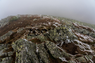 Wet large boulders covered with lichen, moss and first snow on a mountainside on a foggy day.