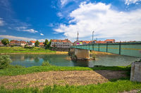 River Kupa and town of Karlovac waterfront and bridge view