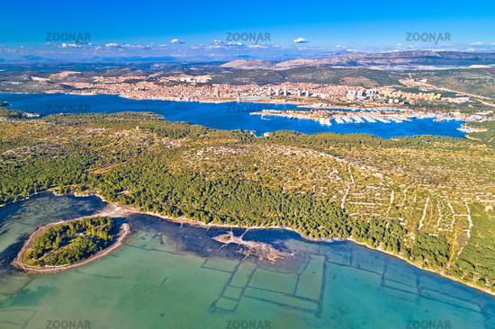 Sibenik. Aerial panoramic view of town of Sibenik