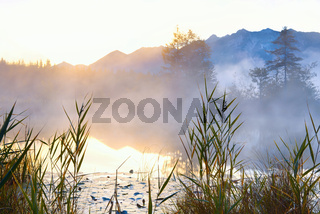 Barmsee in Alps at sunrise