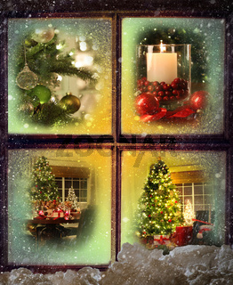 Vignettes of Christmas scenes through a window