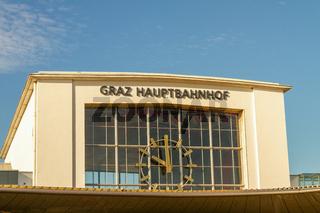 Facade of  the main train station in Graz / Austria