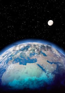 Erde, Mond und Weltall, Hochformat