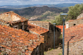 Monsanto historic village beautiful stone houses and rooftops, in Portugal
