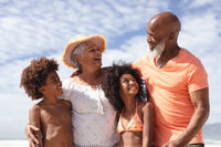 African american grandparents and grandchildren smiling at the beach