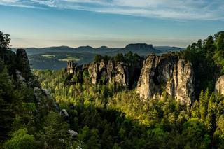 rocks in saxon switzerland at sunrise, germany