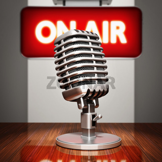 Retro microphoneand on air sign. 3D illustration