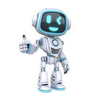 Cute blue robot giving thumbs up 3D
