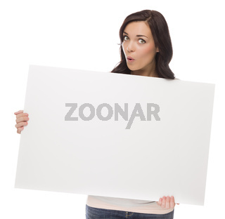 Wide Eyed Mixed Race Female Holding Blank Sign on White