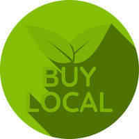 green round BUY LOCAL sticker or sign with leaves