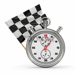 Stopwatch with checkered flag. Start - finish. 3d