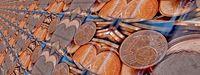 1 Cent Münzen in der Flasche