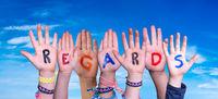 Children Hands Building Word Regards, Blue Sky