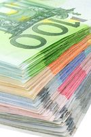 Colorful pile of euro banknotes