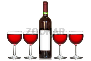 Four wineglass and wine bottle