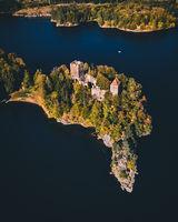 Lake Ottenstein with Castle Liechtenfels during Autumn