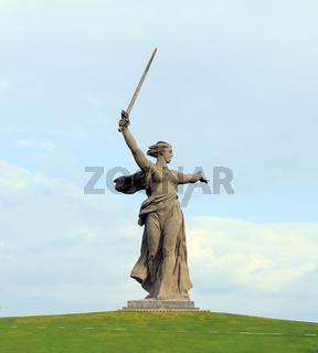 Stone monument The Motherland Calls in Volgograd