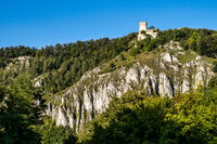 The ruins of Randeck castle in Markt Essing over the river Altmuehl in Bavaria, Germany