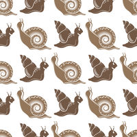 Animal Icon. Snail Logo Isolated on White Background. Seamless Pattern
