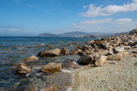 Rocky beach with turquoise water in the north of Spain, in Galicia
