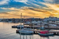 Oslo Norway, sunset city skyline at harbour