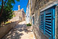 Old stone street in Mediterranean village, island of Krapanj