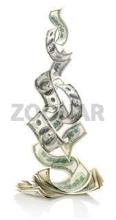 Falling dollars isolated