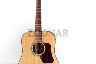 close up of acoustic guitar on white background