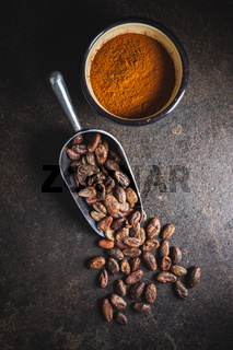 Cocoa powder and cocoa beans in scoop.