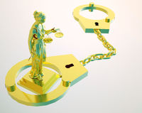 Themis statue and handcuffs