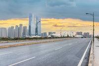 city road scene at dusk