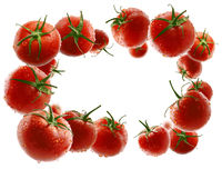 Red tomatoes levitate on a white background