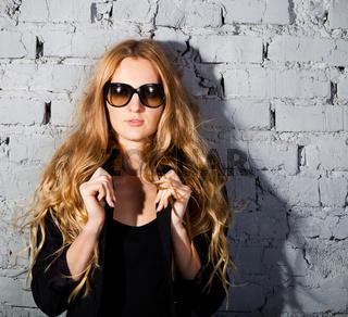 beautiful girl with big black glasses