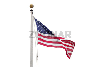 the flag of the USA isolated on white sky background