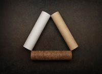 Three clean and dirty water filter cartridges