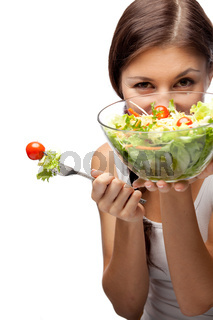 Woman and salad