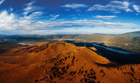 Aerial autumn drone shot of beauty dawn on the peak