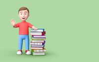Young Student Leaning on Stack of Books on Green with Copy Space 3D Illustration