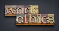 work ethics - word abstract in letterpress wood type