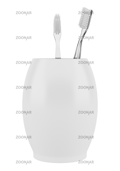 two toothbrushes in bowl isolated on white background