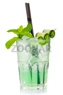 Green alcohol cocktail with fresh mint and cucumber slices isolated