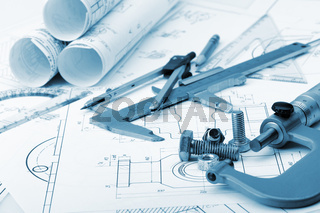 The plan industrial details, a screws, caliper, divider,micrometer