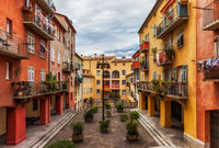 Colorful Old Town Houses in Nice City in France