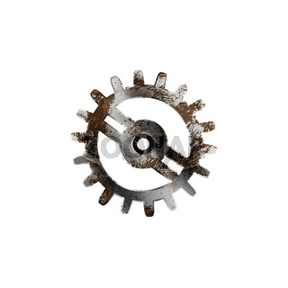 Glossy metal cogwheel with detailed rust isolated on white