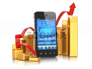 Stock exchange application on mobile and graph.