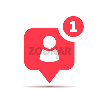 One new friend red icon, social media subscribe piktogram on white