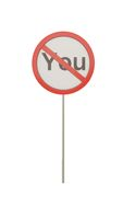 Personal boundary. You prohibiting sign, psychotherapy icon, 3d illustration