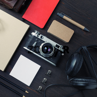 Travel concept, retro camera