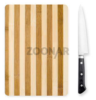 Chopping board and knife isolated on white background.