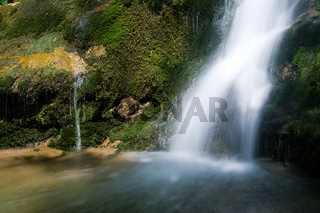 Waterfall in the Narrow pass of The Beyos, Leon, Spain
